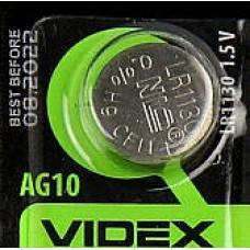 Батарейка VIDEX AG10, 390, 389, LR1130, G10, LR54