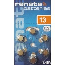 Батарейка RENATA ZA-13 для слухового аппарата (цена за 1 шт)